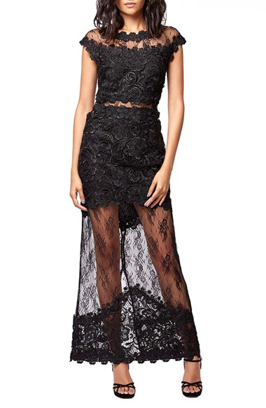 Black illusion lace dress
