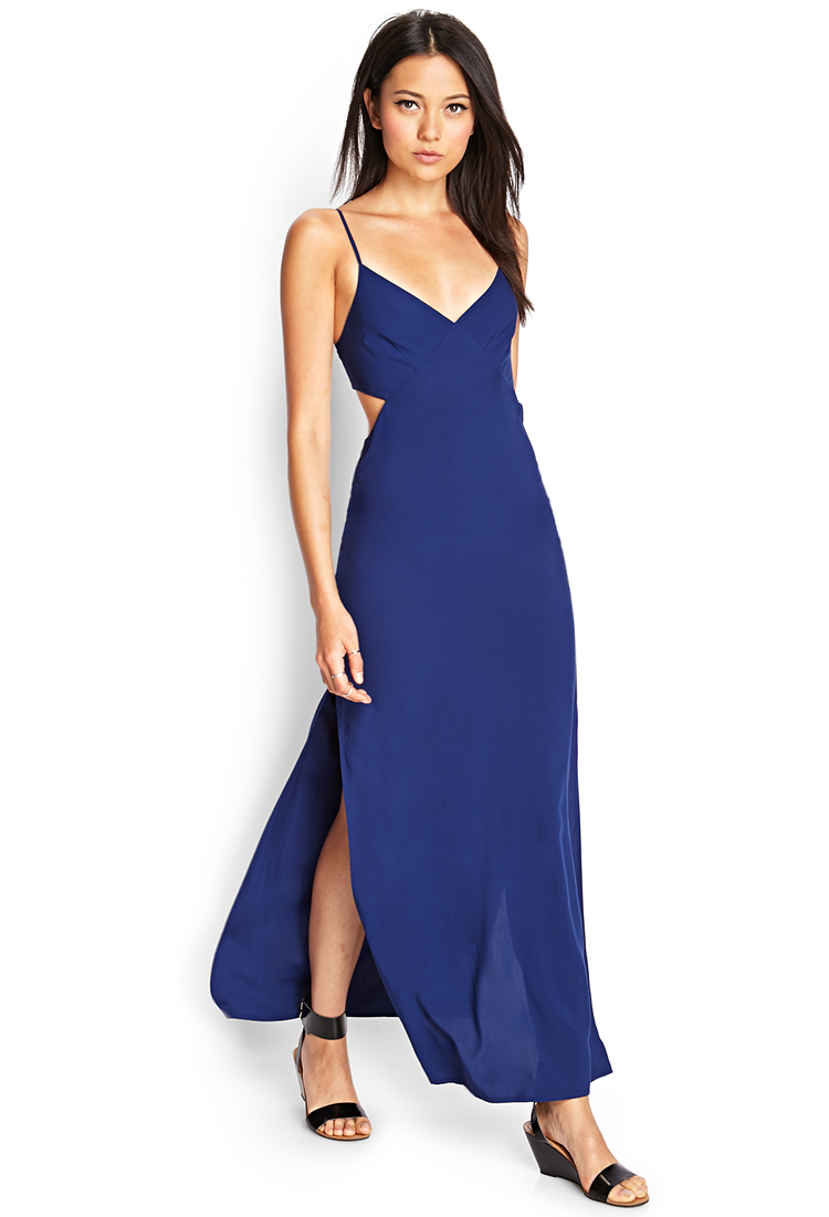 Lyst Forever 21 Cutout Maxi Dress In Blue