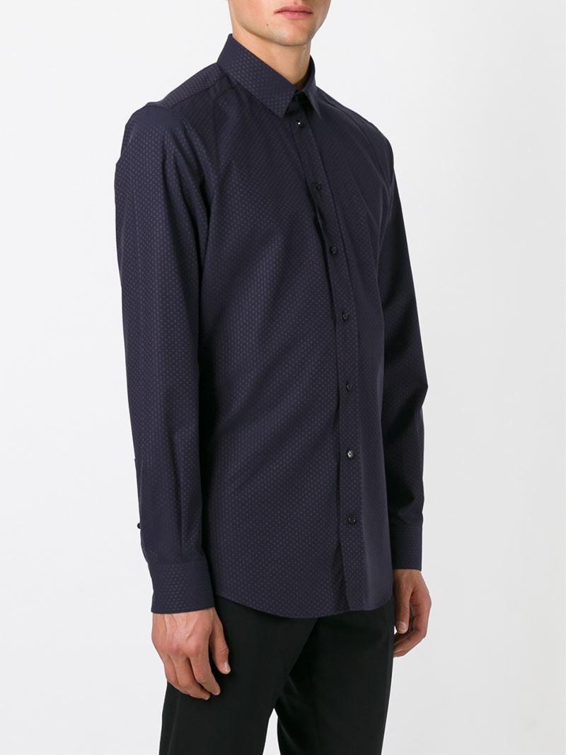 Lyst Dolce Gabbana Micro Print Shirt In Blue For Men
