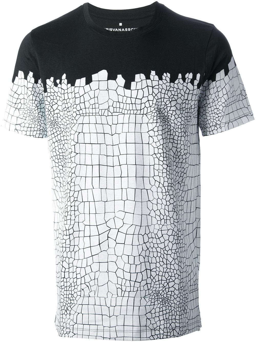 Kris van assche Crocodile Print Tshirt in Black for Men