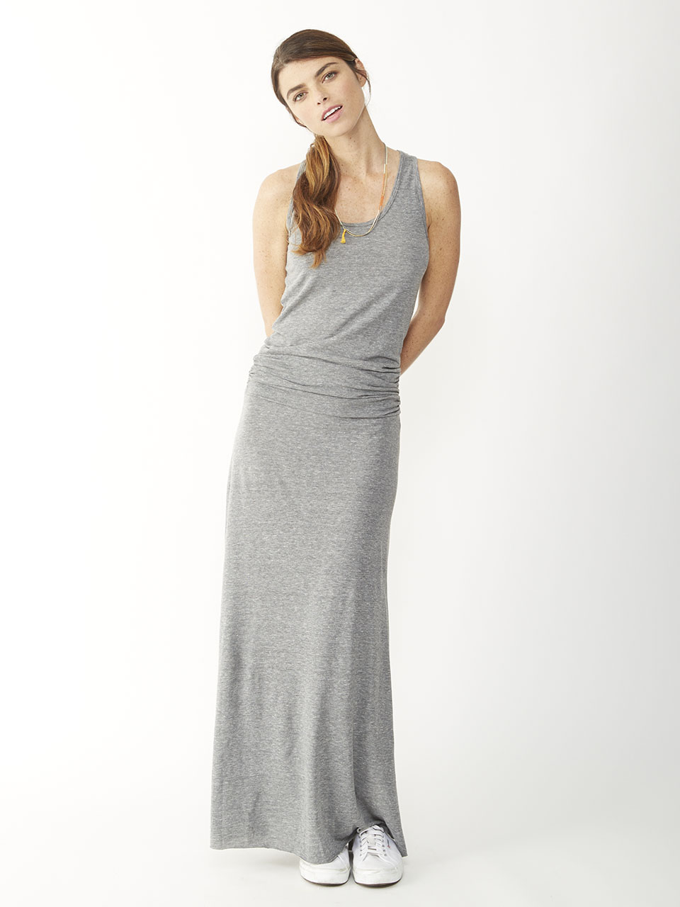 Lyst Alternative Apparel Go Fish Racerback Maxi Dress In Gray