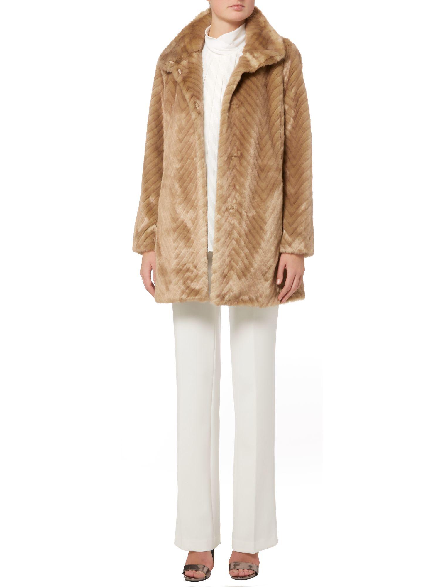 Ellen tracy Mink Faux Fur Coat in Natural | Lyst