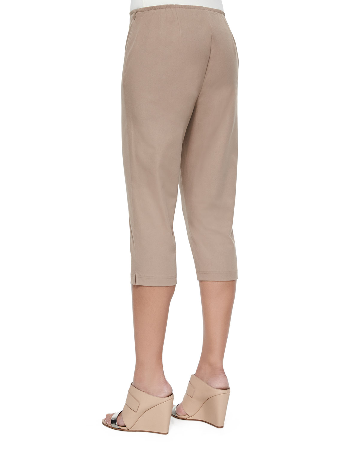 Eileen fisher Organic Cotton Slim Capri Pants in Natural | Lyst