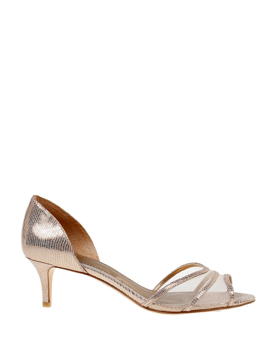 Belle by badgley mischka Nonnie Metallic Open toe Pumps in