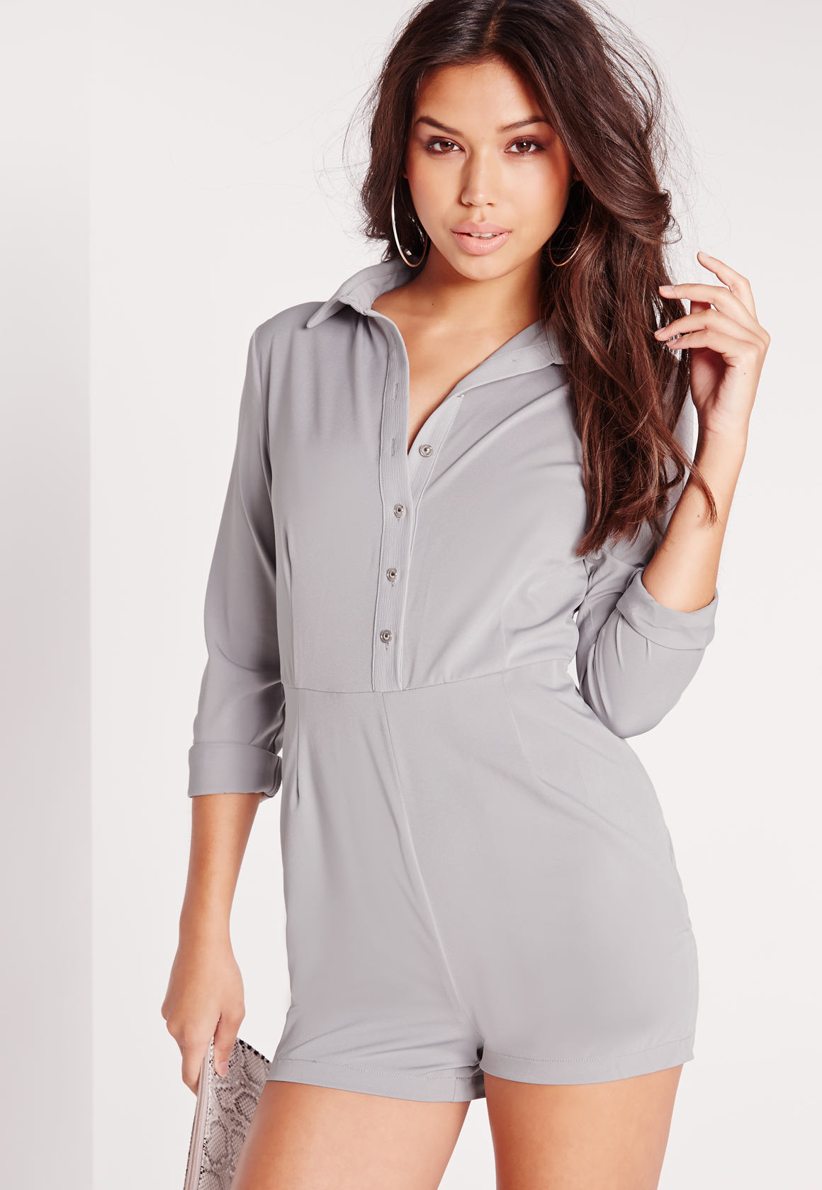 bb7f638ae5b Lyst - Missguided Collared Button Up Romper Grey in Gray