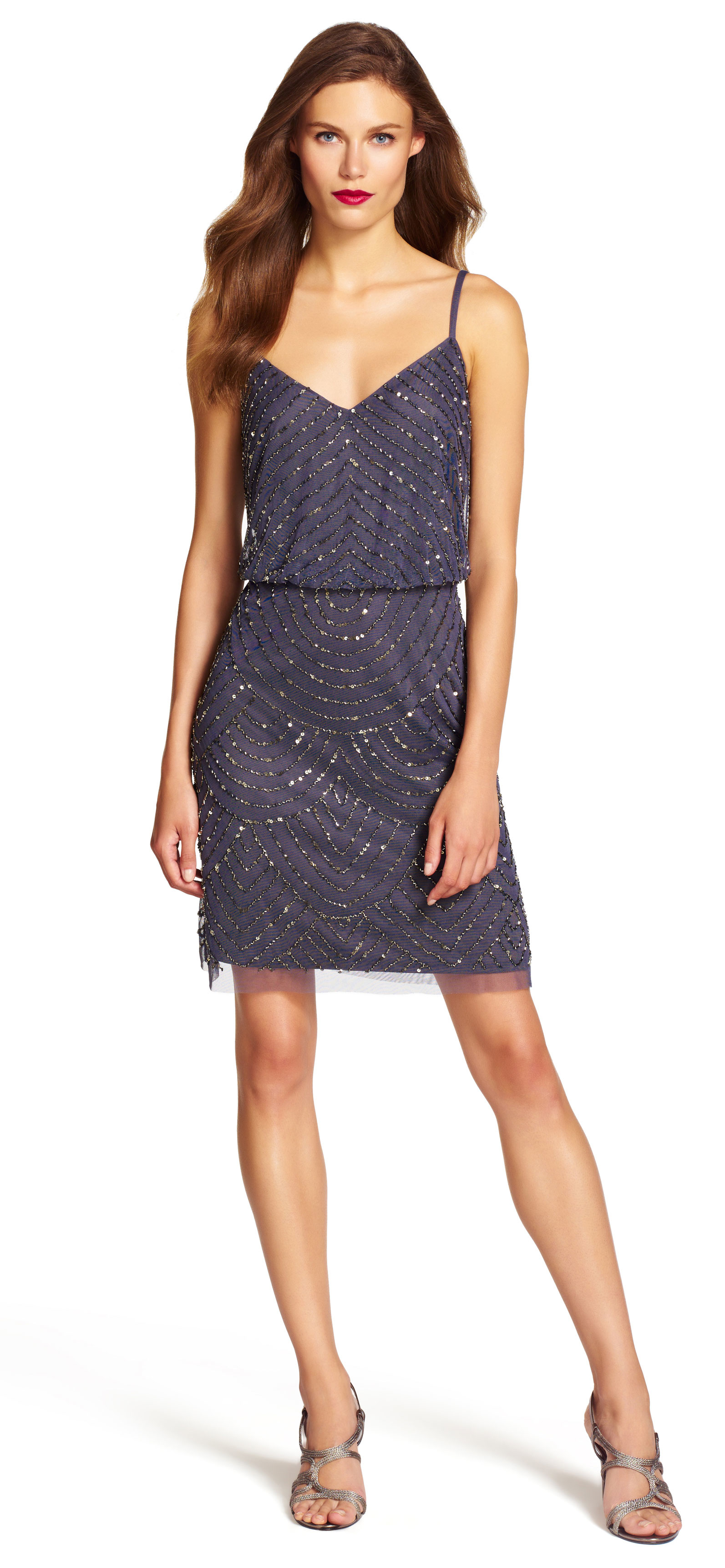 Adrianna Papell Cocktail Dress In Gray Lyst