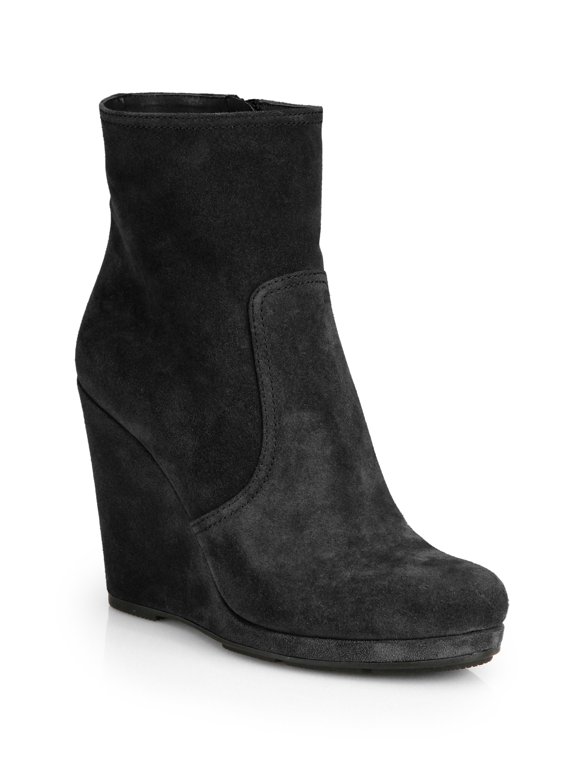 prada suede wedge ankle boots in black nero black lyst