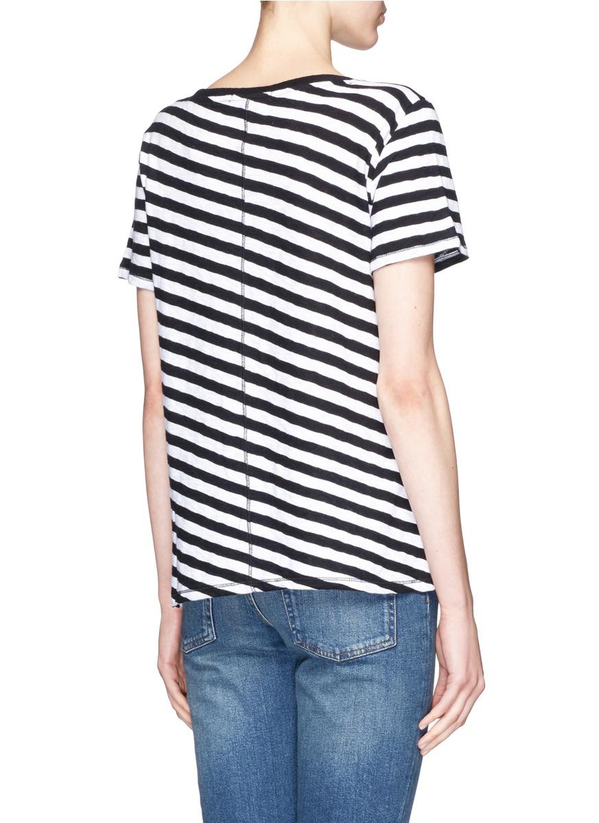Rag bone 39 concert 39 stripe t shirt in black lyst for Rag and bone white t shirt