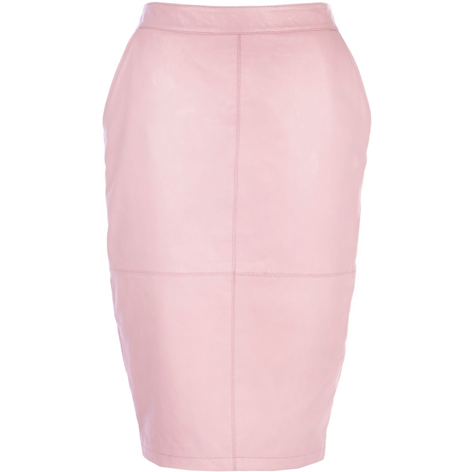 river island light pink leather pencil skirt in pink lyst