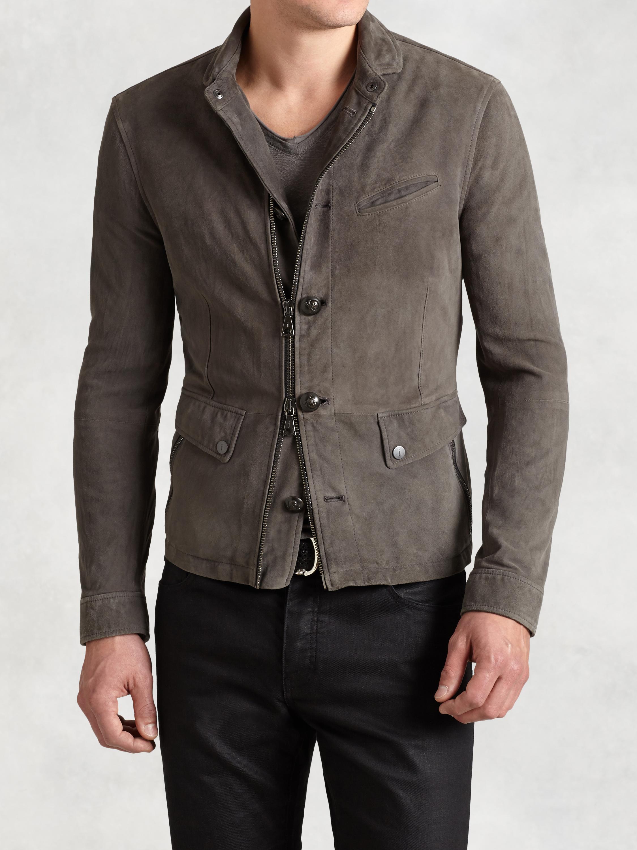 John varvatos Lambskin Burnished Jacket in Gray for Men