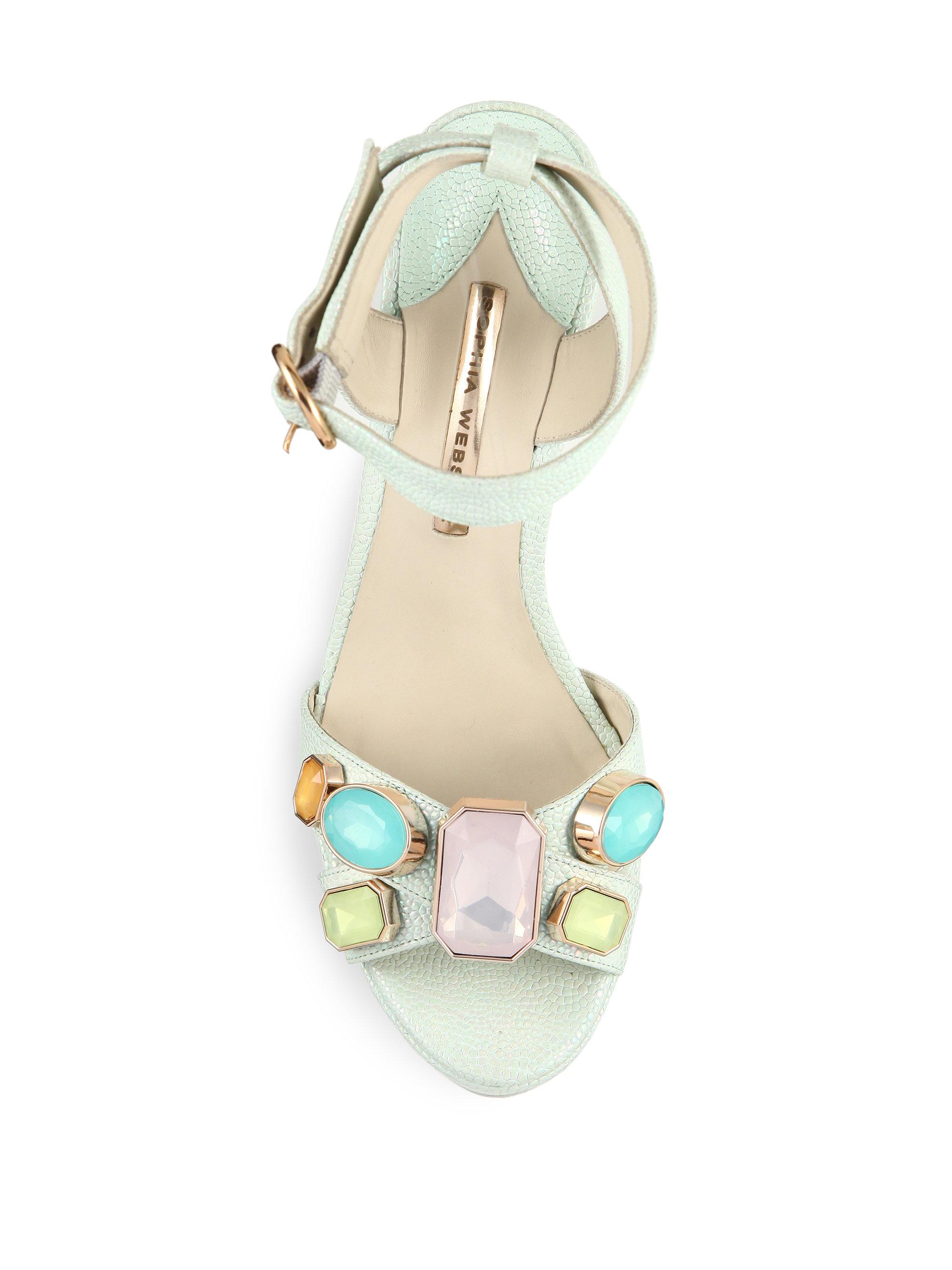 89e956b73a9 Lyst - Sophia Webster Amanda Gem Leather Platform Sandals in Green