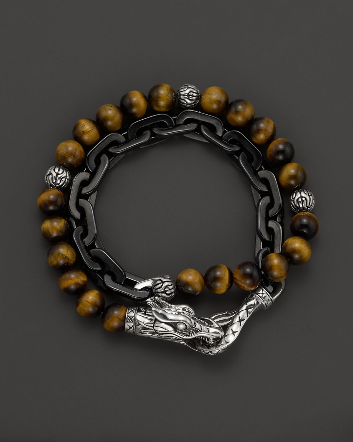 John Hardy Men S Naga Double Wrap Link Bracelet With Tiger