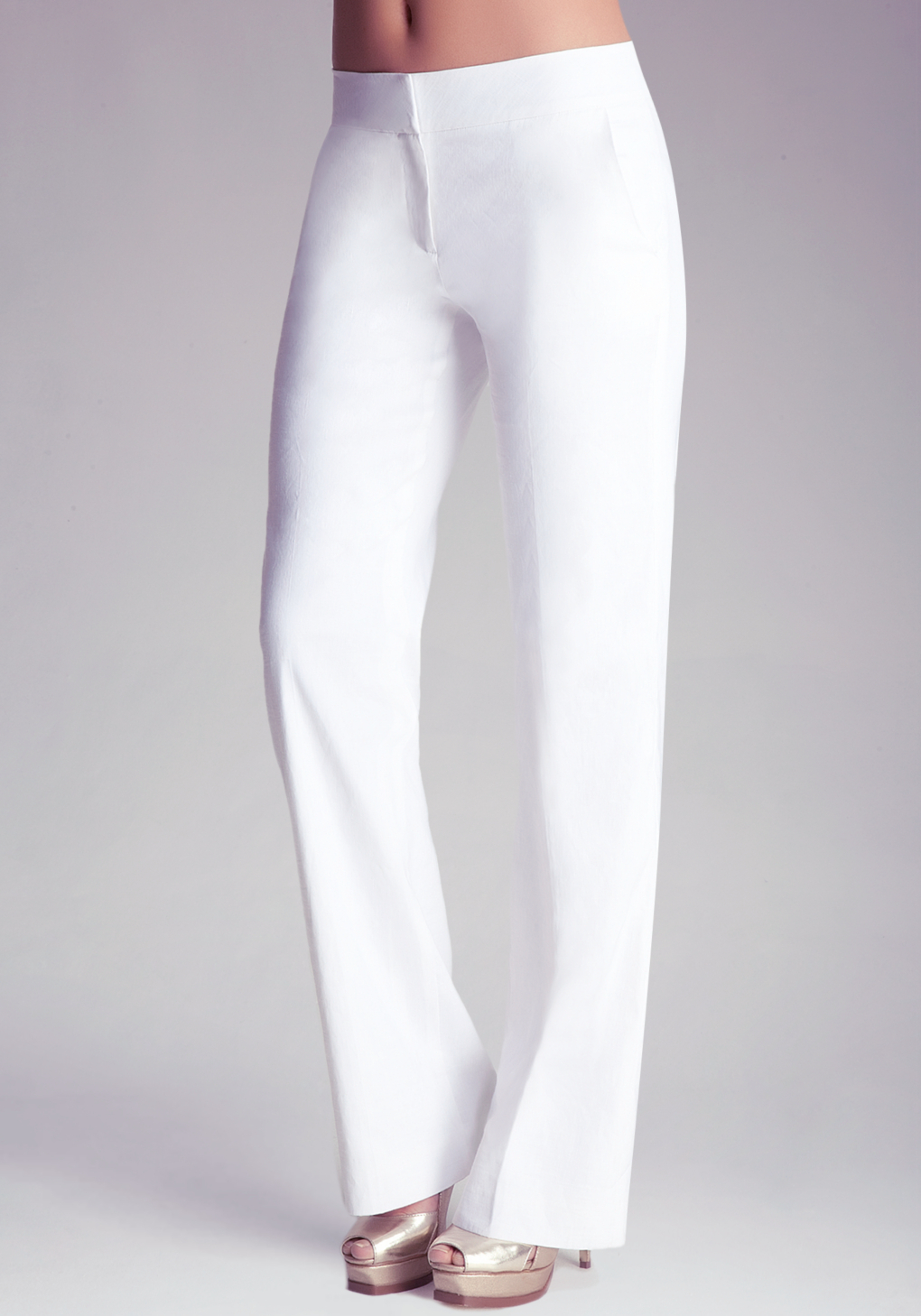Bebe Petite Wide Leg Trousers In White Lyst