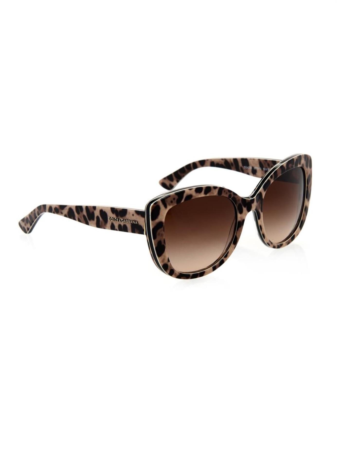 a9477b362b5 Lyst - Dolce   Gabbana Leopard-Print Cat-Eye Sunglasses