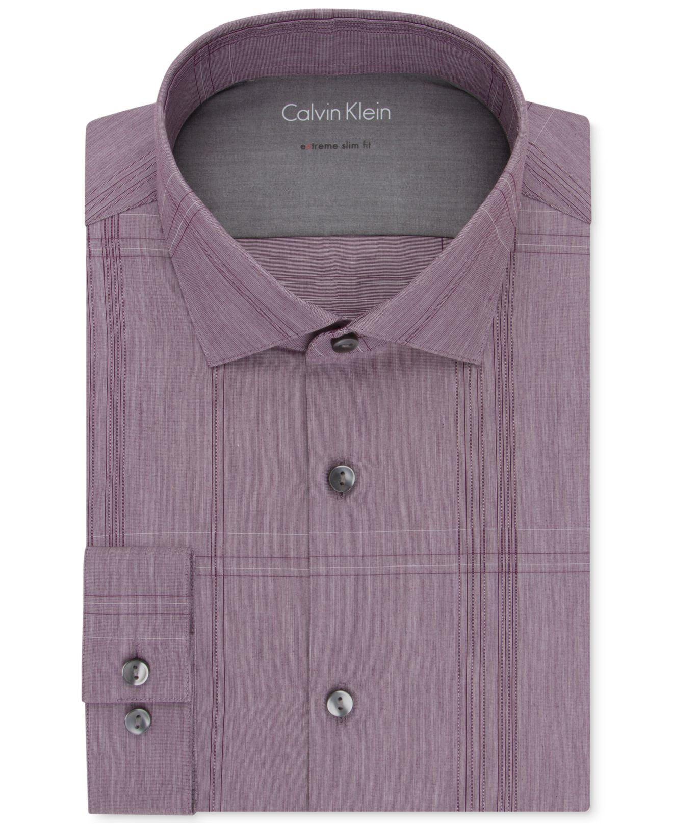 Lyst calvin klein x extra slim fit claret plaid dress for Extra slim dress shirt