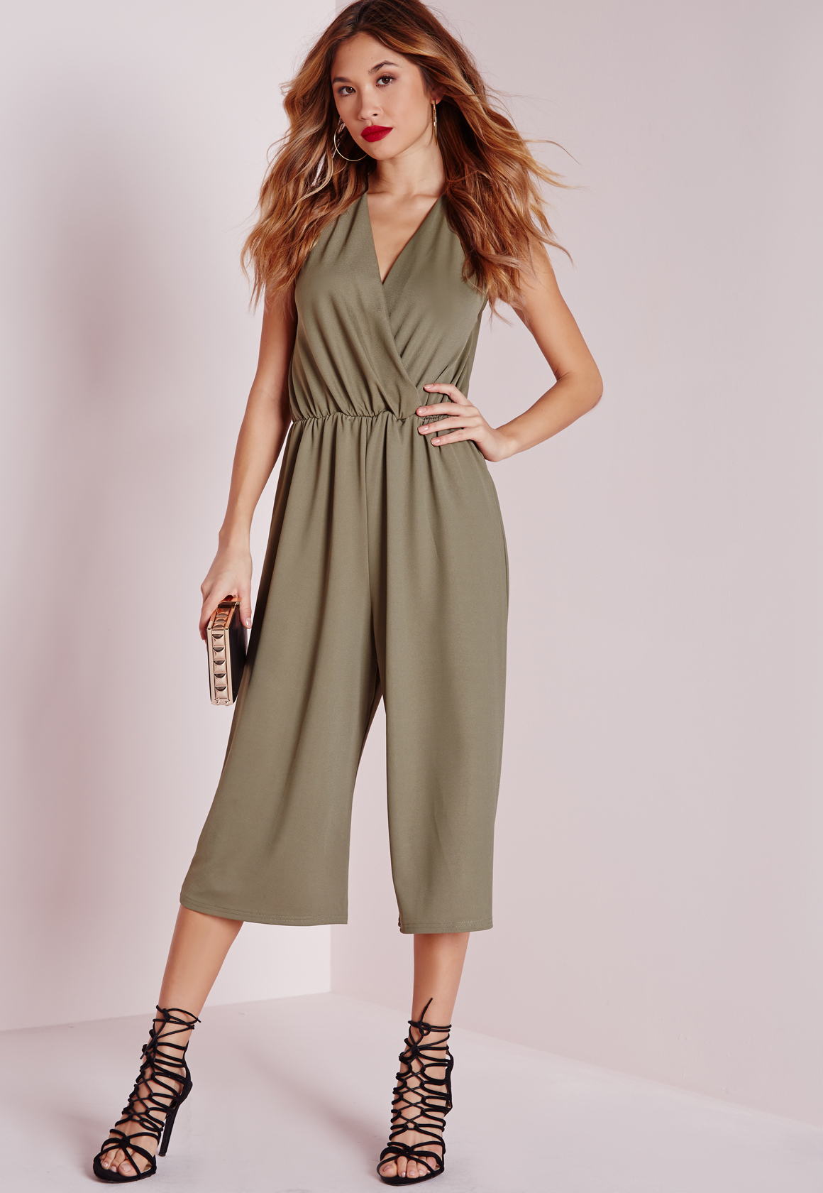 505743fa0b93 Missguided Wrap Front Culotte Jumpsuit Khaki in Natural - Lyst