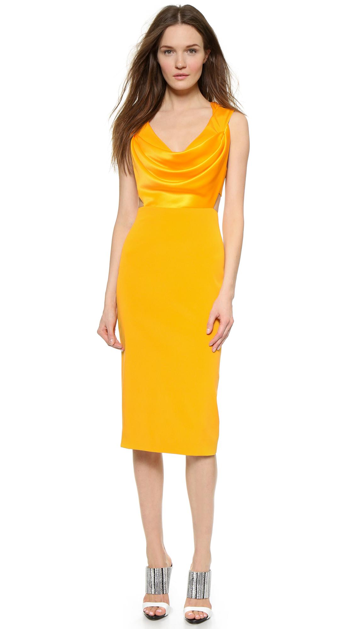 c887cd6ca111 Cushnie et Ochs Sleeveless Dress - Marigold in Yellow - Lyst