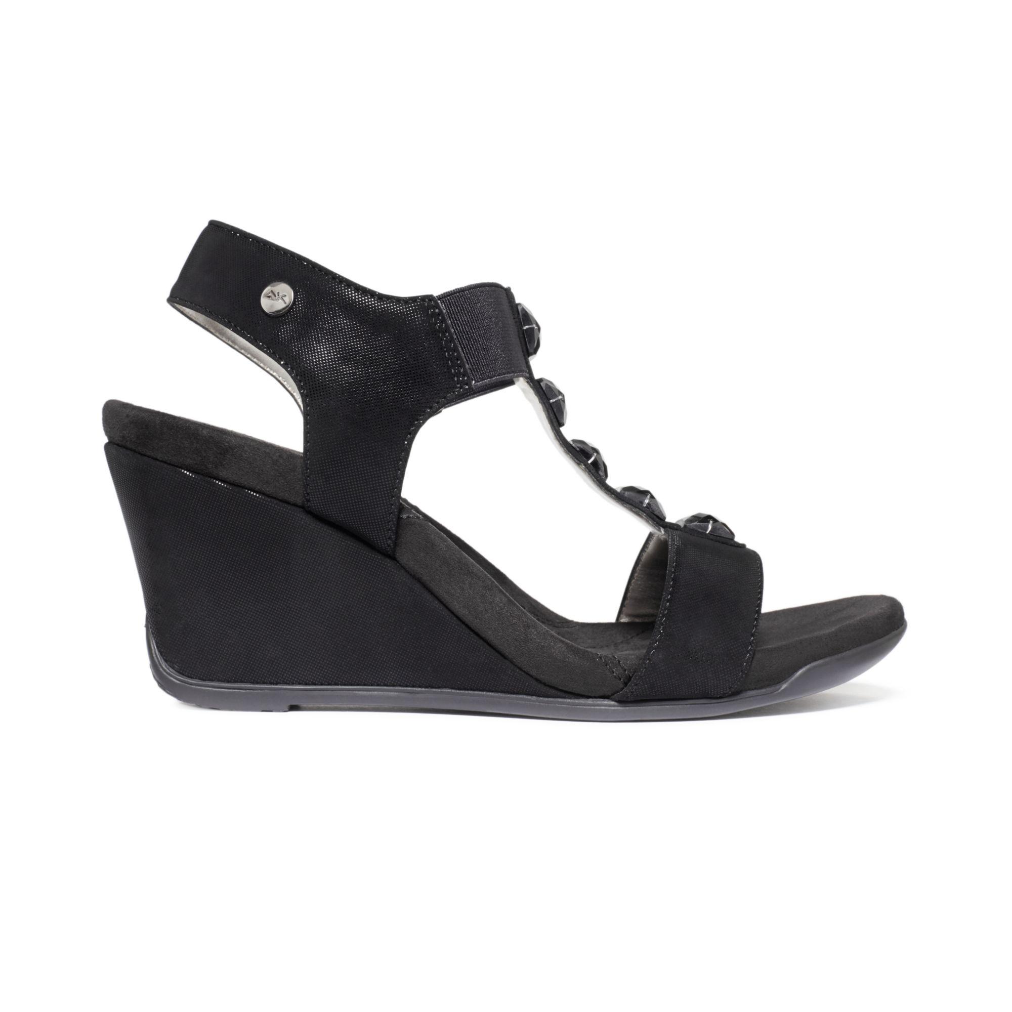c60f05df0d7d Lyst - Anne Klein Lofty Sport Wedge Sandals in Black