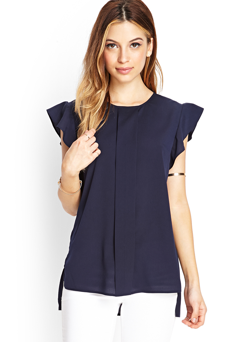 7ba54f68430f04 Lyst - Forever 21 Pleated Woven Blouse in Blue