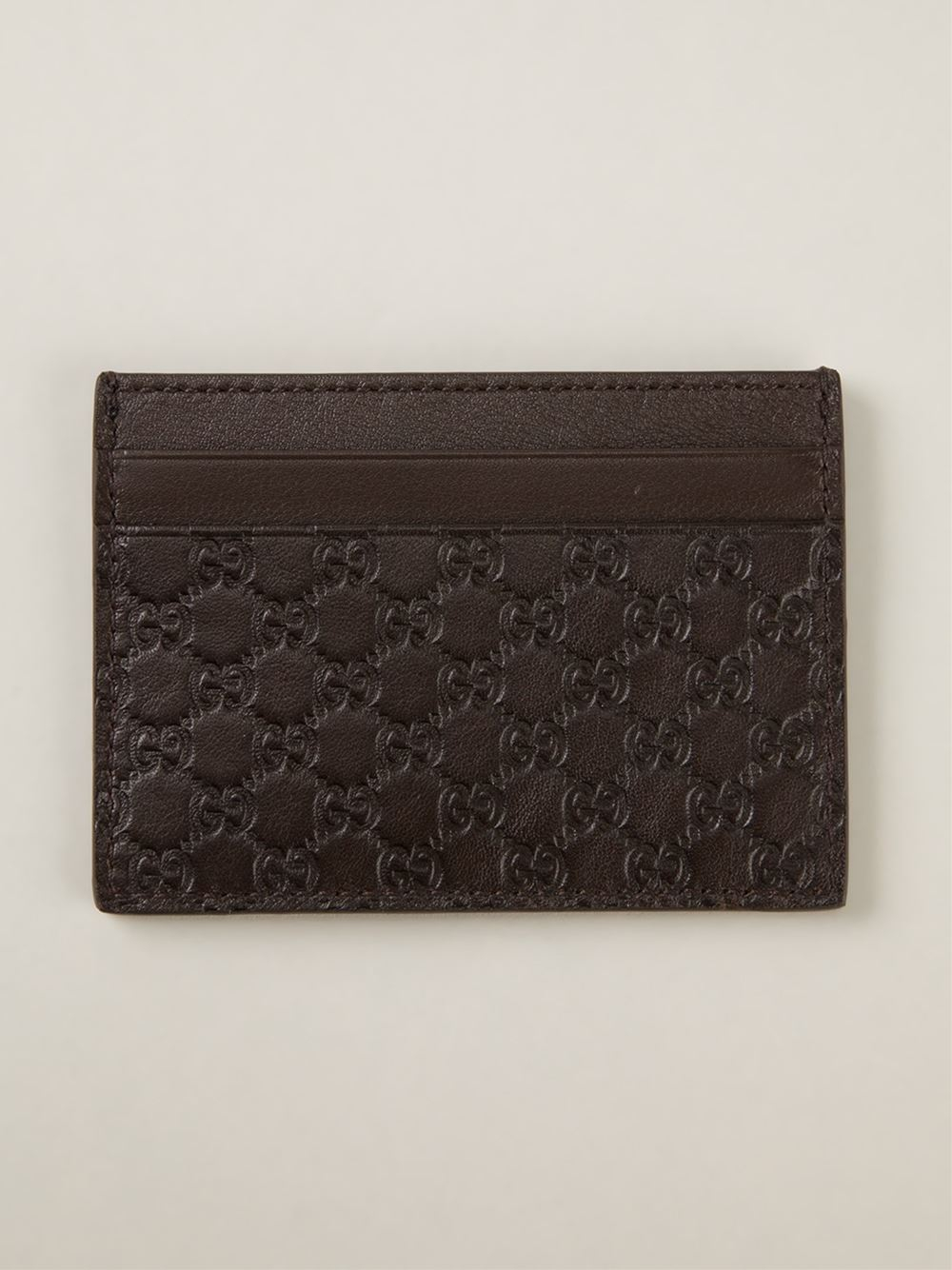 027a81a9a6e65b Gucci 'ssima' Embossed Card Holder in Brown for Men - Lyst