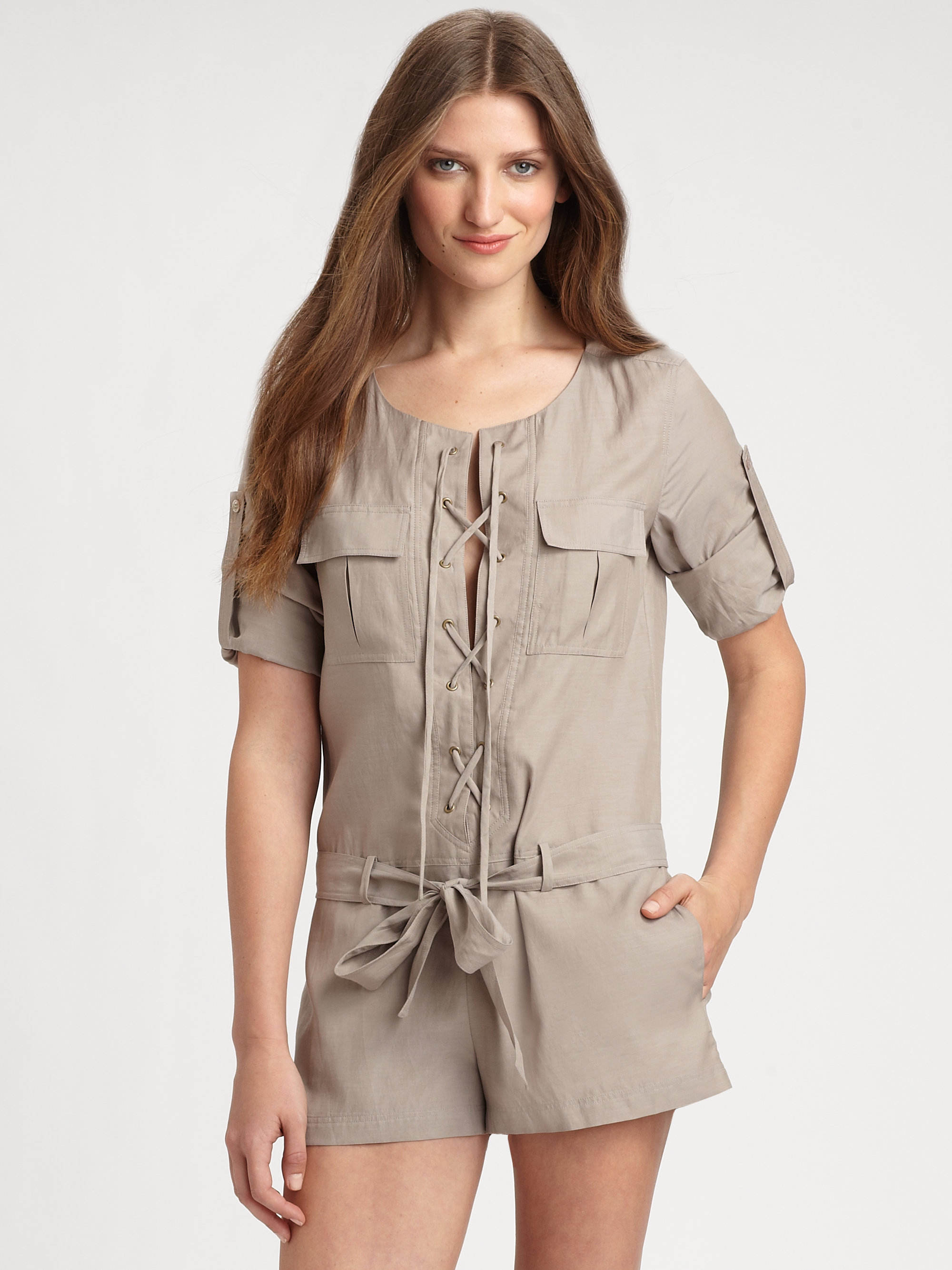 2c3897f84ac Lyst - BCBGMAXAZRIA Deja Short Jumpsuit in Natural