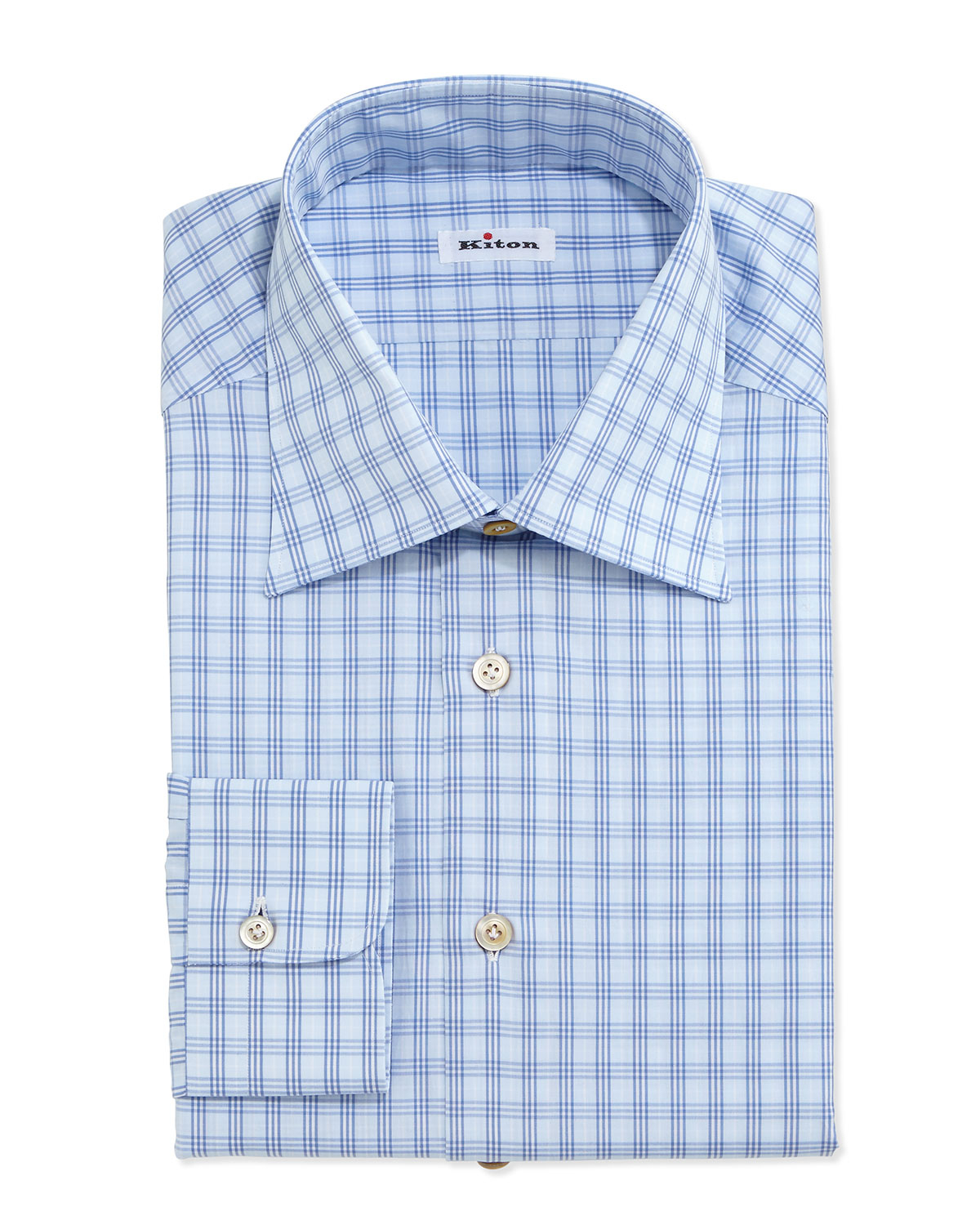 Lyst kiton check poplin dress shirt in blue for men for Blue check dress shirt
