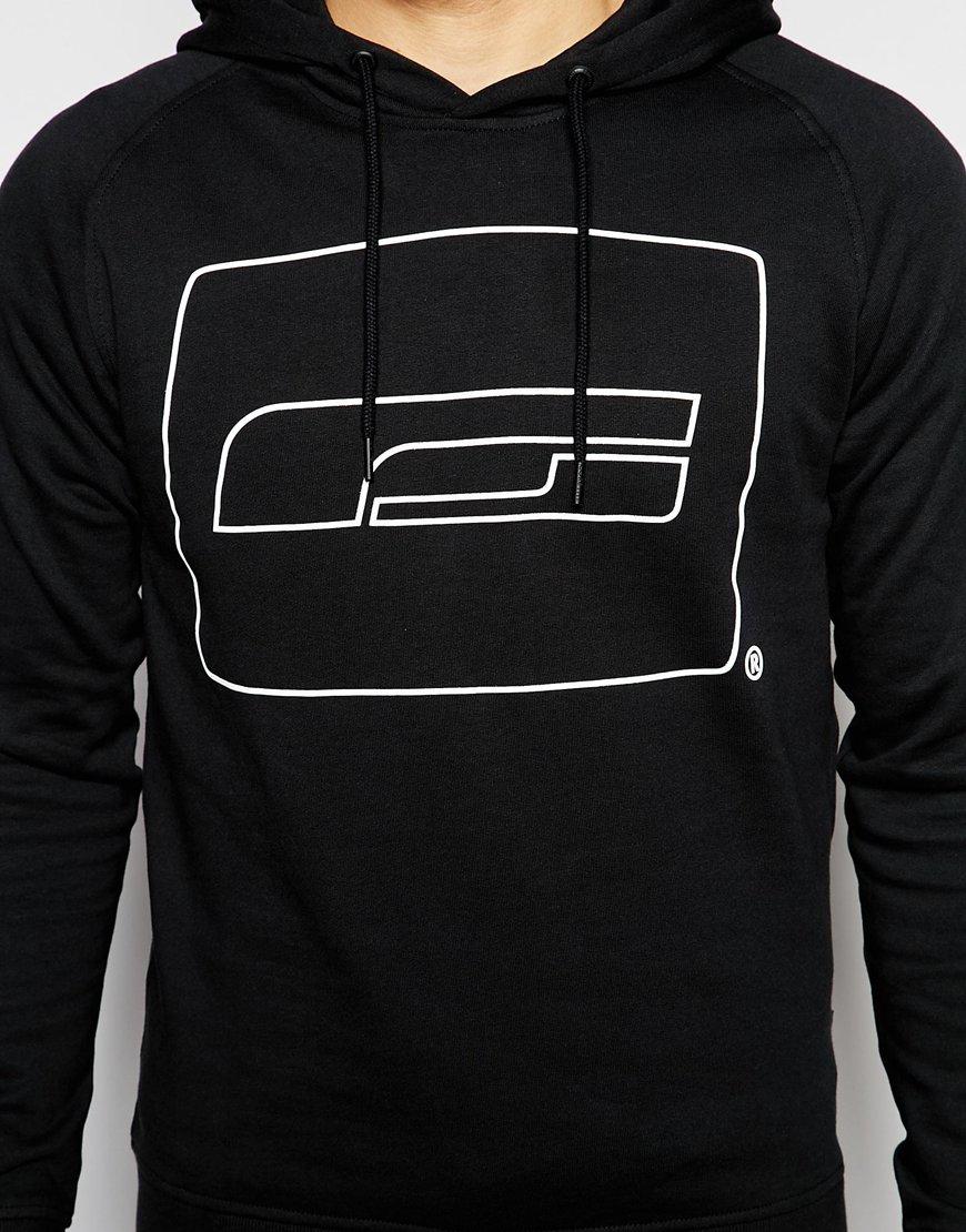 jack jones overhead hoodie with brand logo print in black for men. Black Bedroom Furniture Sets. Home Design Ideas