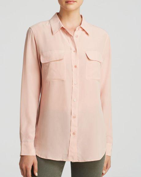 Equipment blouse slim signature silk in pink powder for Equipment signature silk shirt