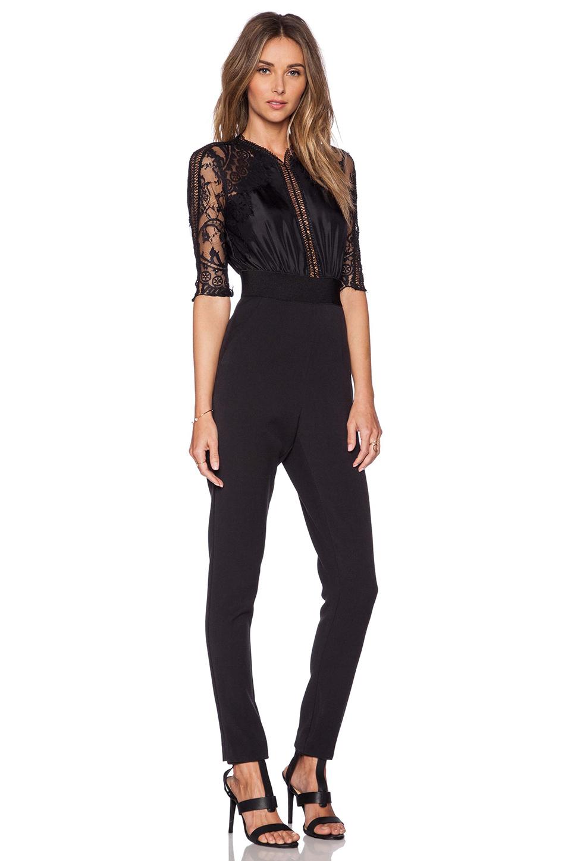 6b5ee1b6b3d Lyst - Self-Portrait Sequence Lace Jumpsuit in Black