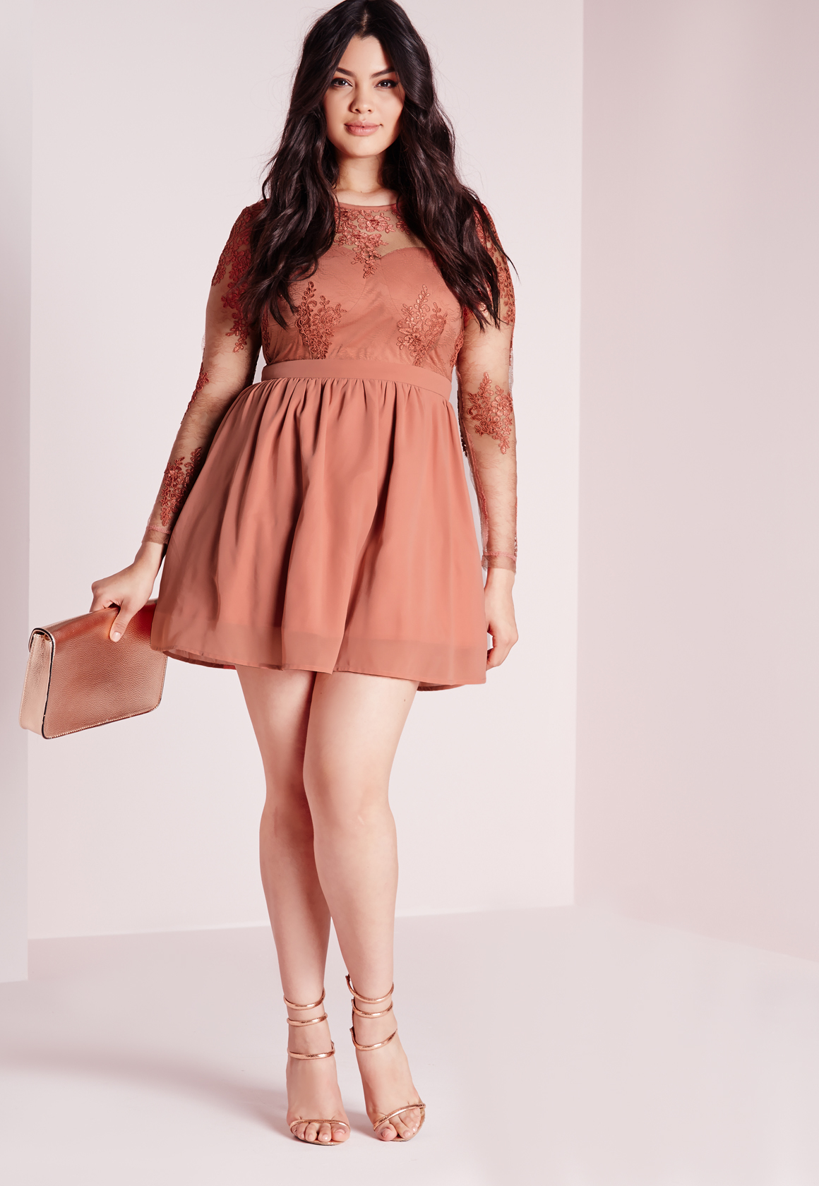 Missguided Plus Size Lace Prom Dress Blush in Red | Lyst