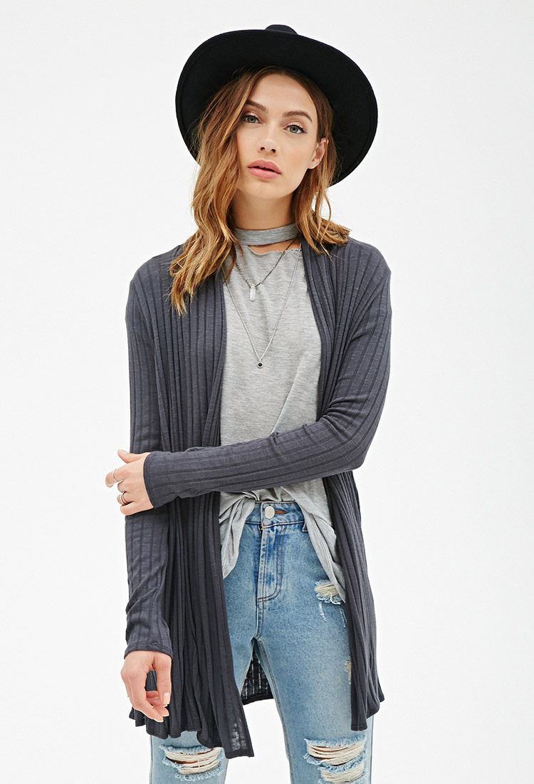 Forever 21 Longline Ribbed Knit Cardigan in Gray | Lyst