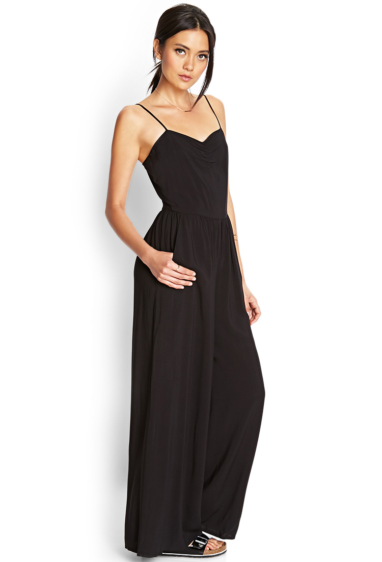 Forever 21 Wide-leg Jumpsuit in Black | Lyst