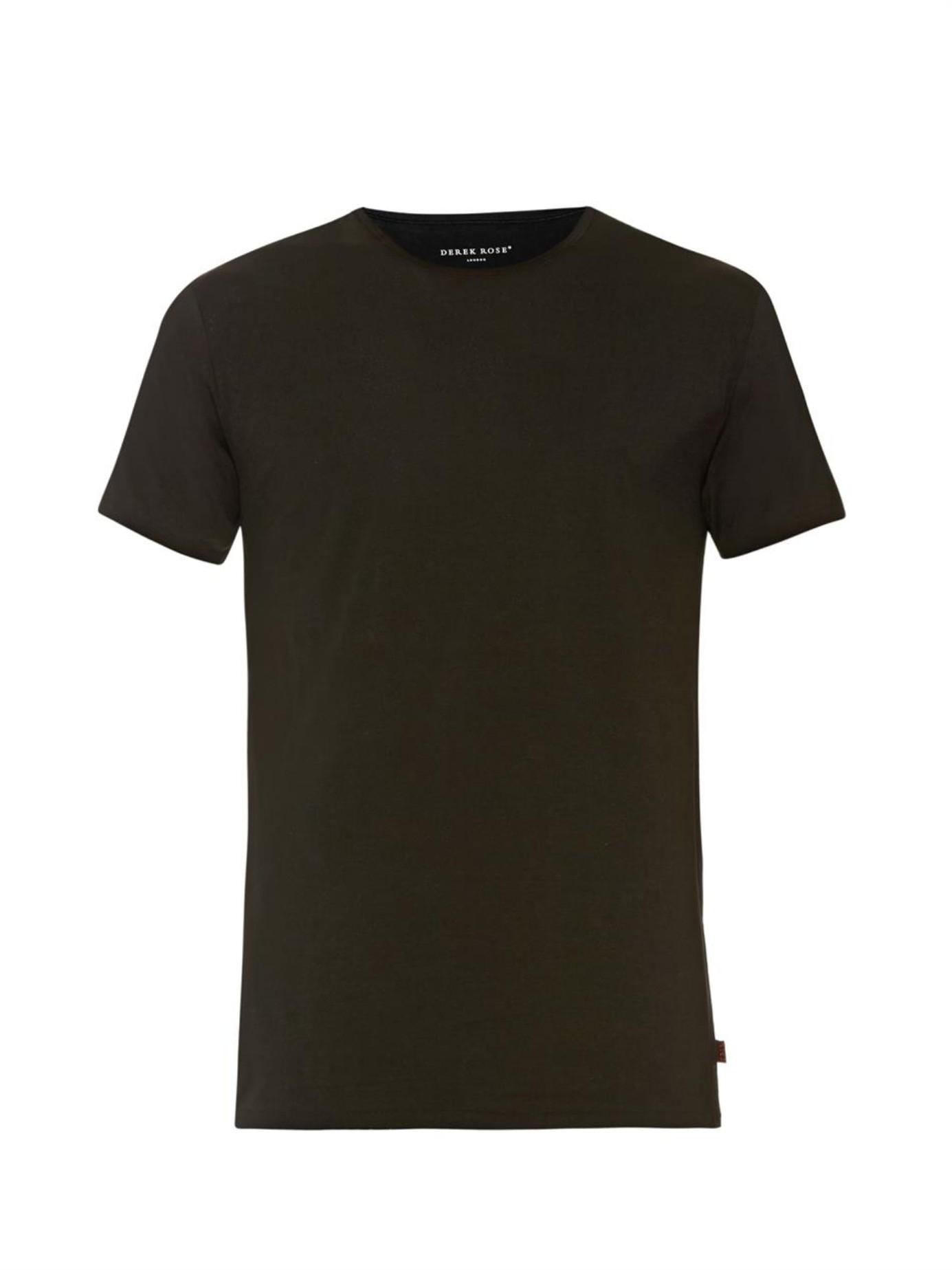 Derek rose pima cotton crew neck t shirt in black for men for Pima cotton crew neck t shirt