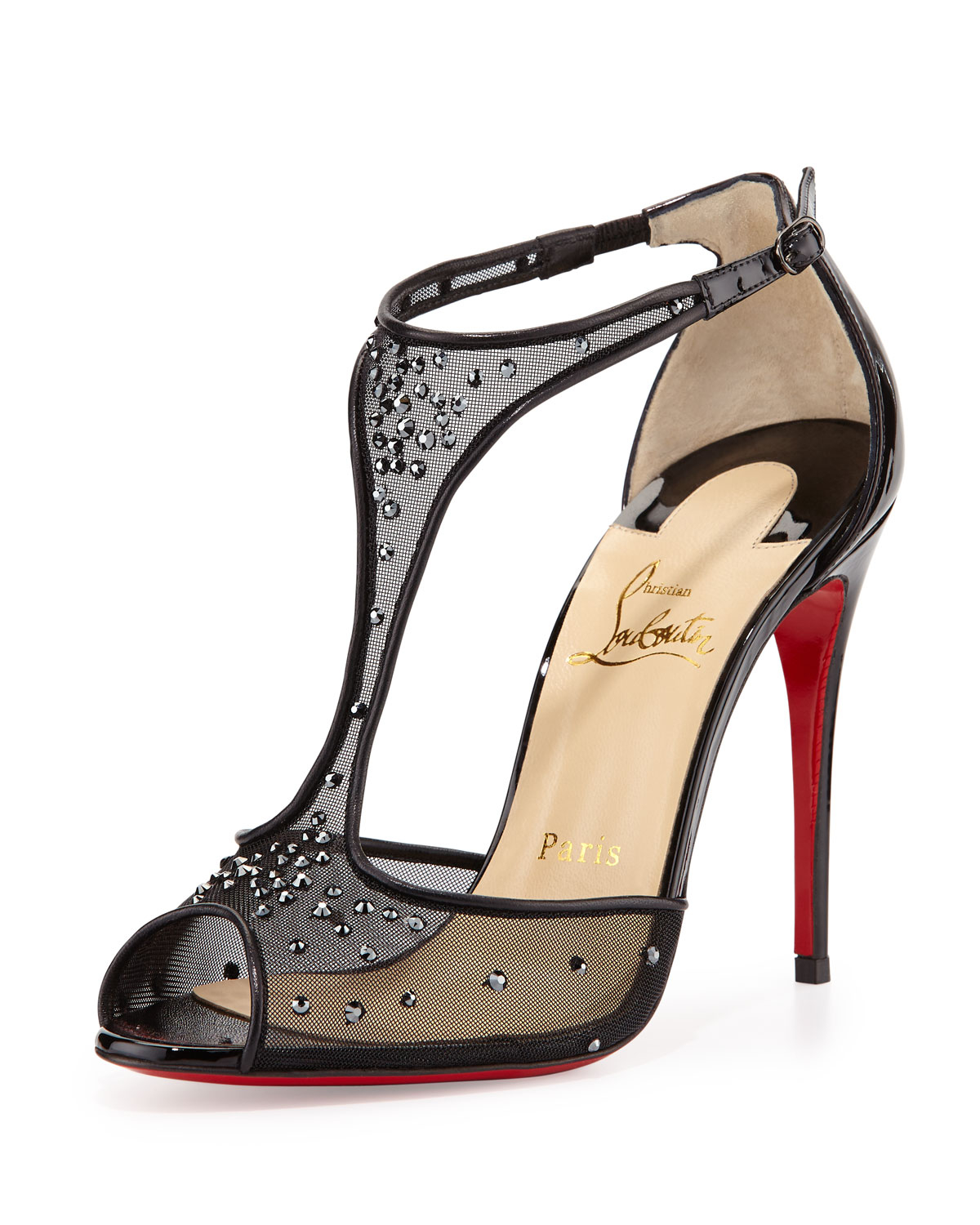 men christian louboutin sneakers - Christian louboutin Patinana Strass Red Sole Sandal in Black (red ...