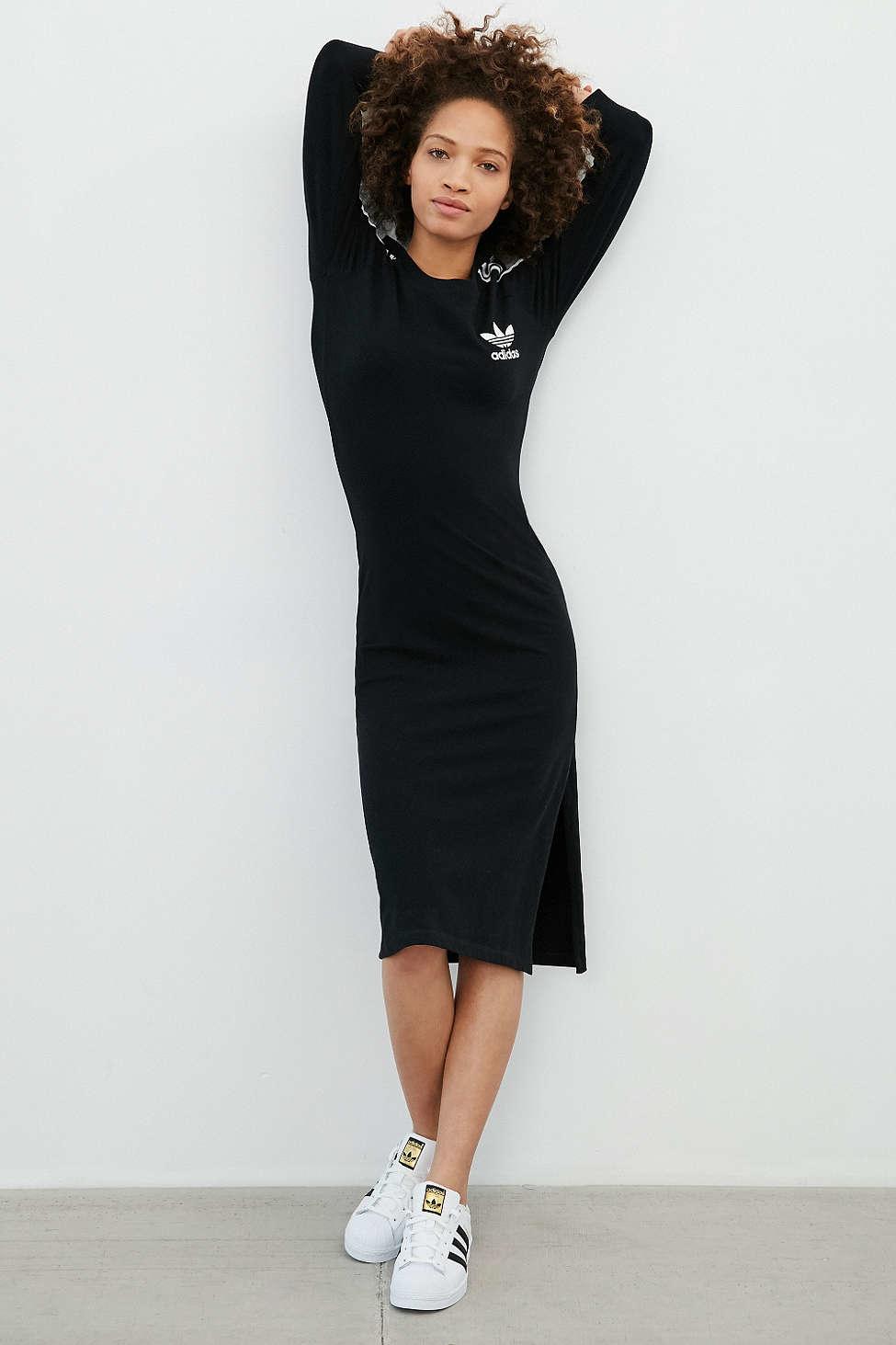 Lyst adidas Originals MIDI Dress In Black