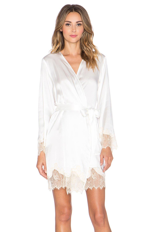 ab9f1bb147 Lyst - Kisskill Lucy Silk Bride Robe in White