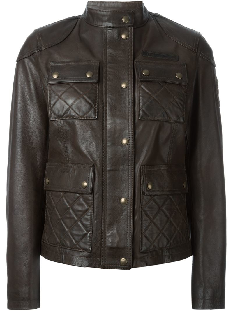 Lyst Belstaff Quilted Leather Jacket In Brown