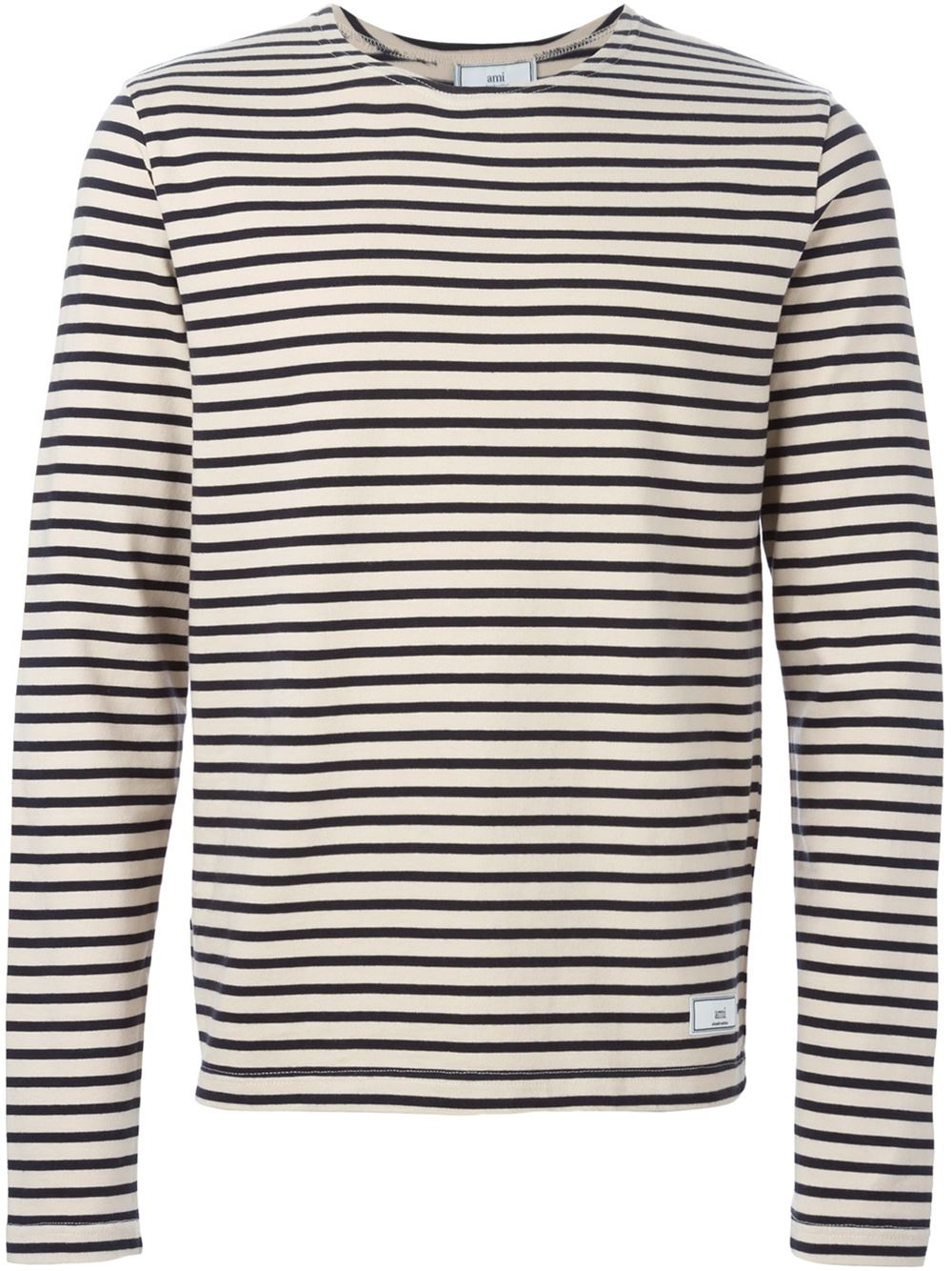 Ami Striped Long Sleeve T Shirt In Beige For Men Nude