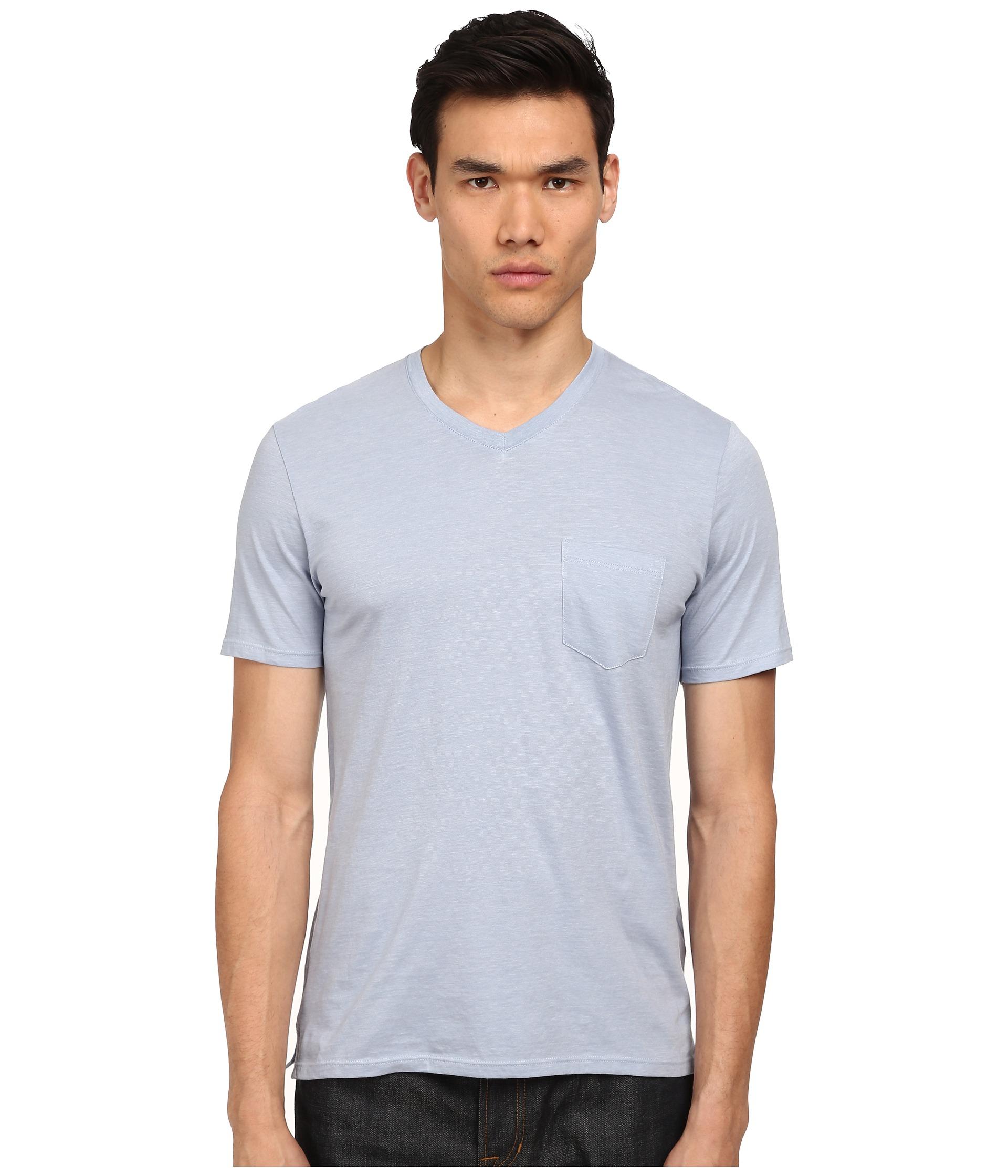 Vince v neck pocket tee in blue for men still water paris for Men s v neck pocket tee shirts