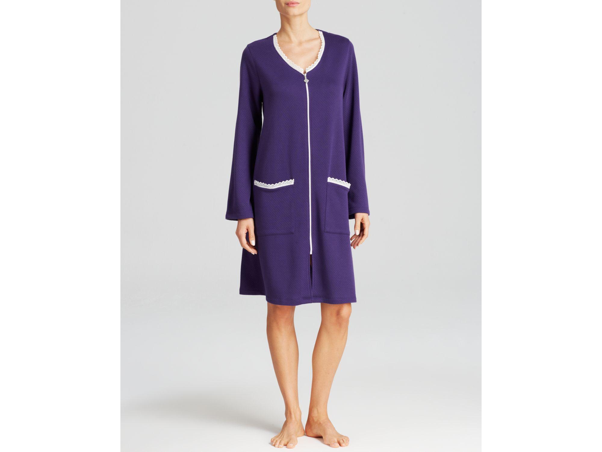 Lyst - Eileen West Milano Short Zip Robe in Purple ceb7195ed