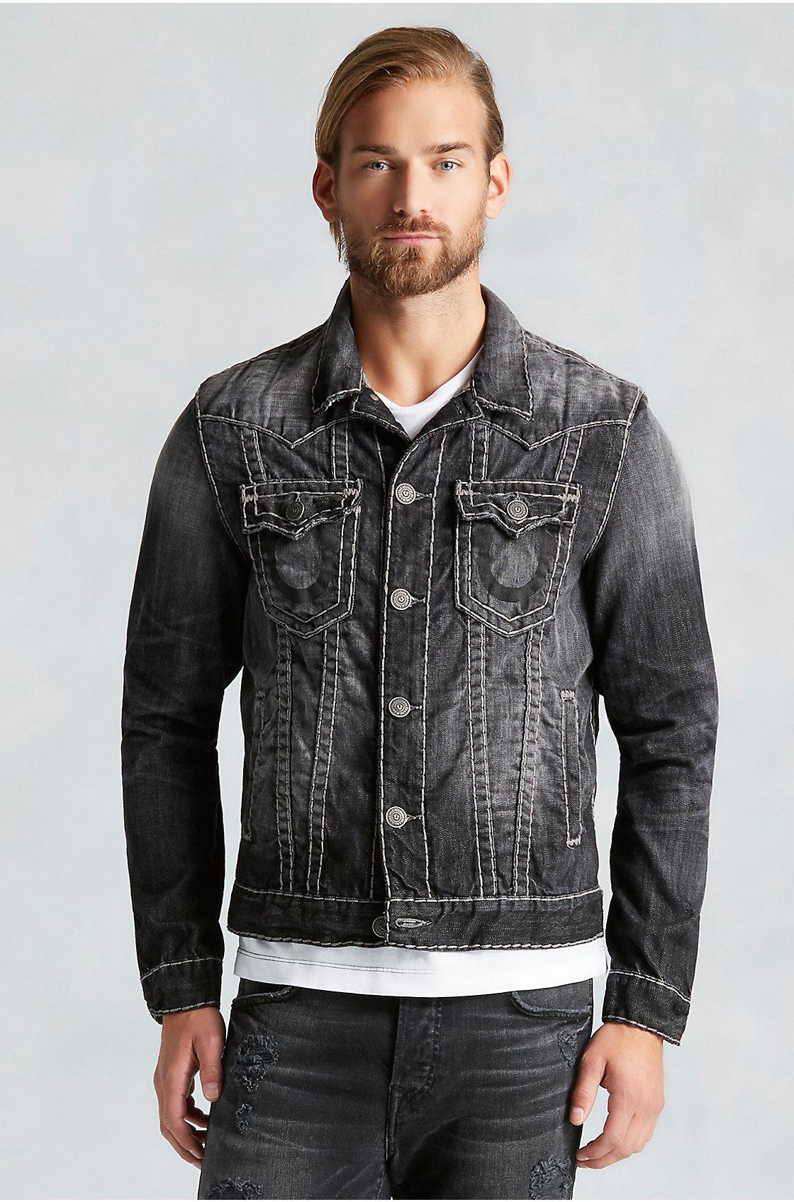 09c011184b804 Lyst - True Religion Rflkt Jimmy Super T Mens Jean Jacket in Gray for Men