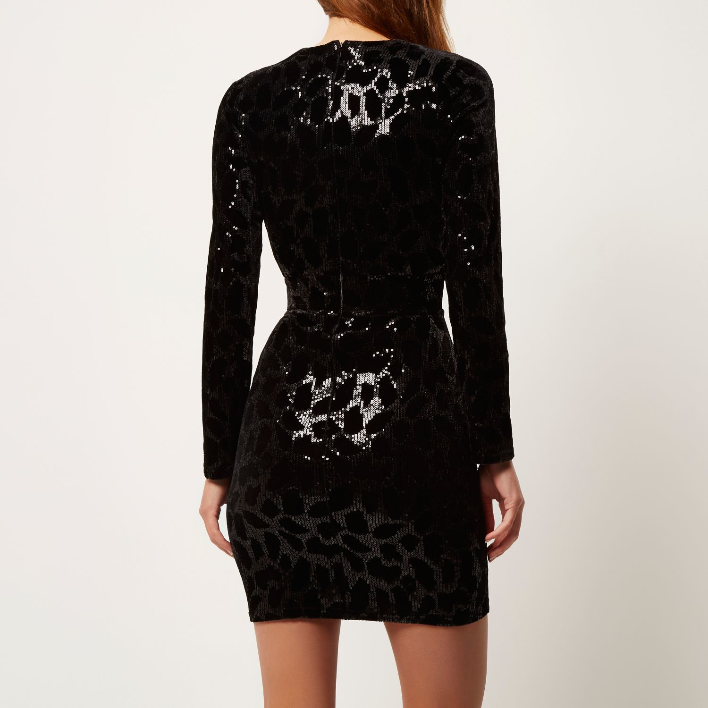 bfa29f3c River Island Black Sparkly Sequin Bodycon Party Dress in Black - Lyst