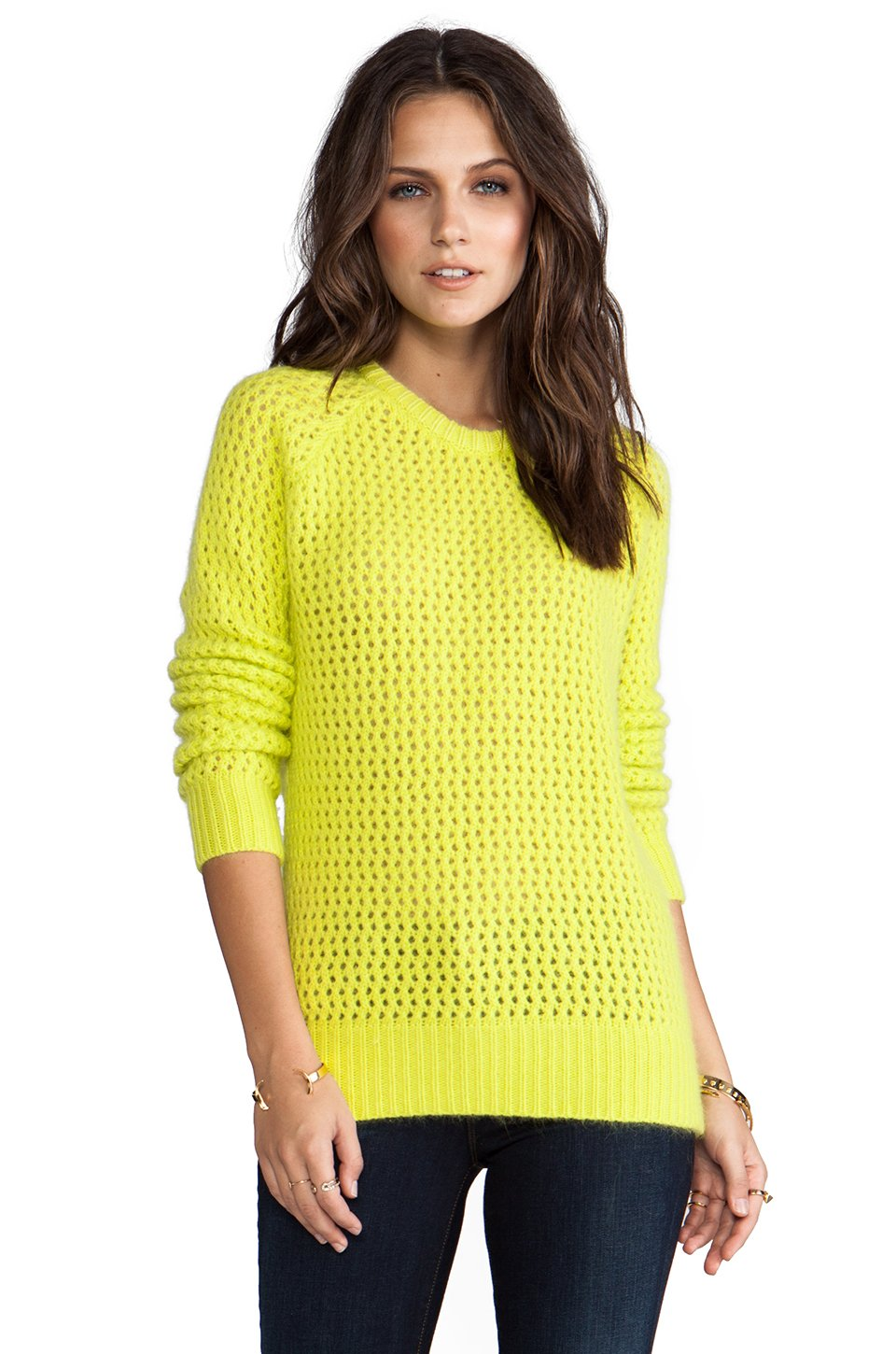 Shae Long Sleeve Open Stitch Fuzzy Sweater in Yellow in Yellow | Lyst