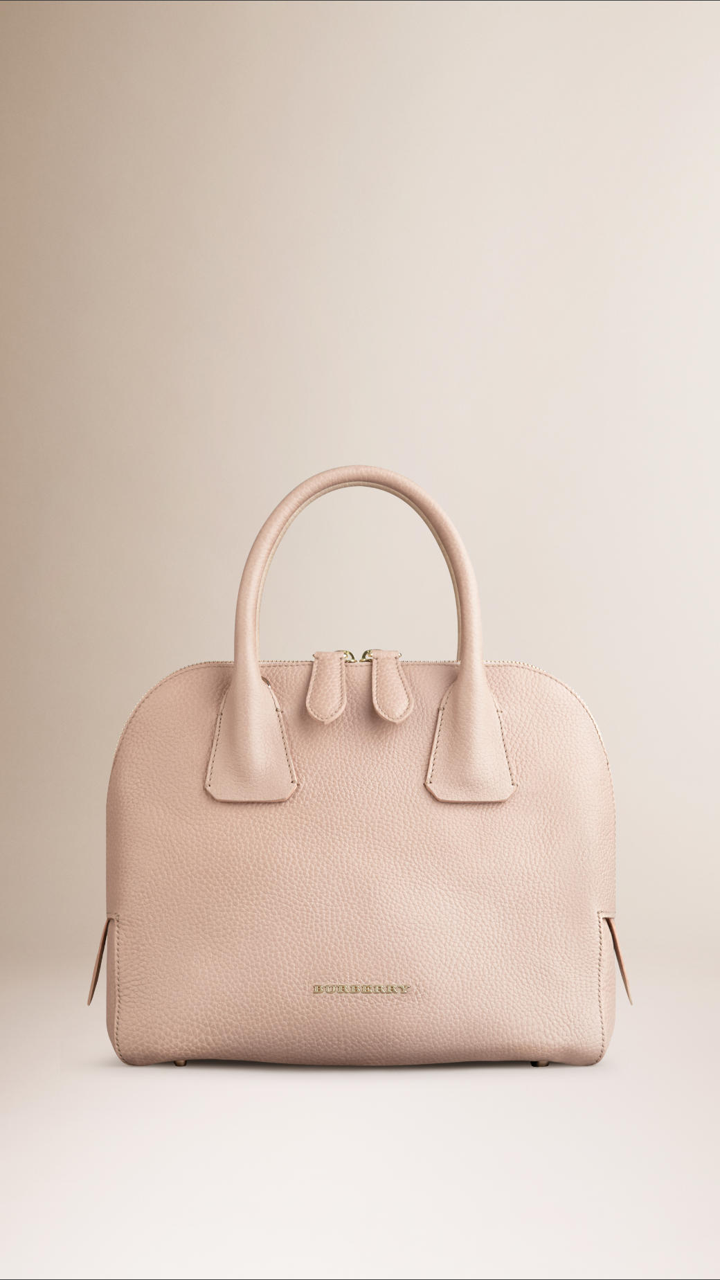 Lyst - Burberry Small Grainy Leather Bowling Bag in Pink b0ac8b934a3c6