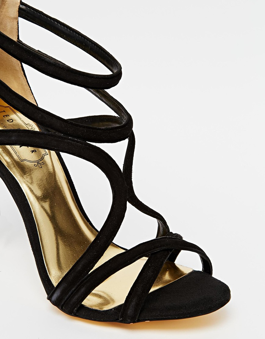 Black Strappy High Heel Sandals - Qu Heel