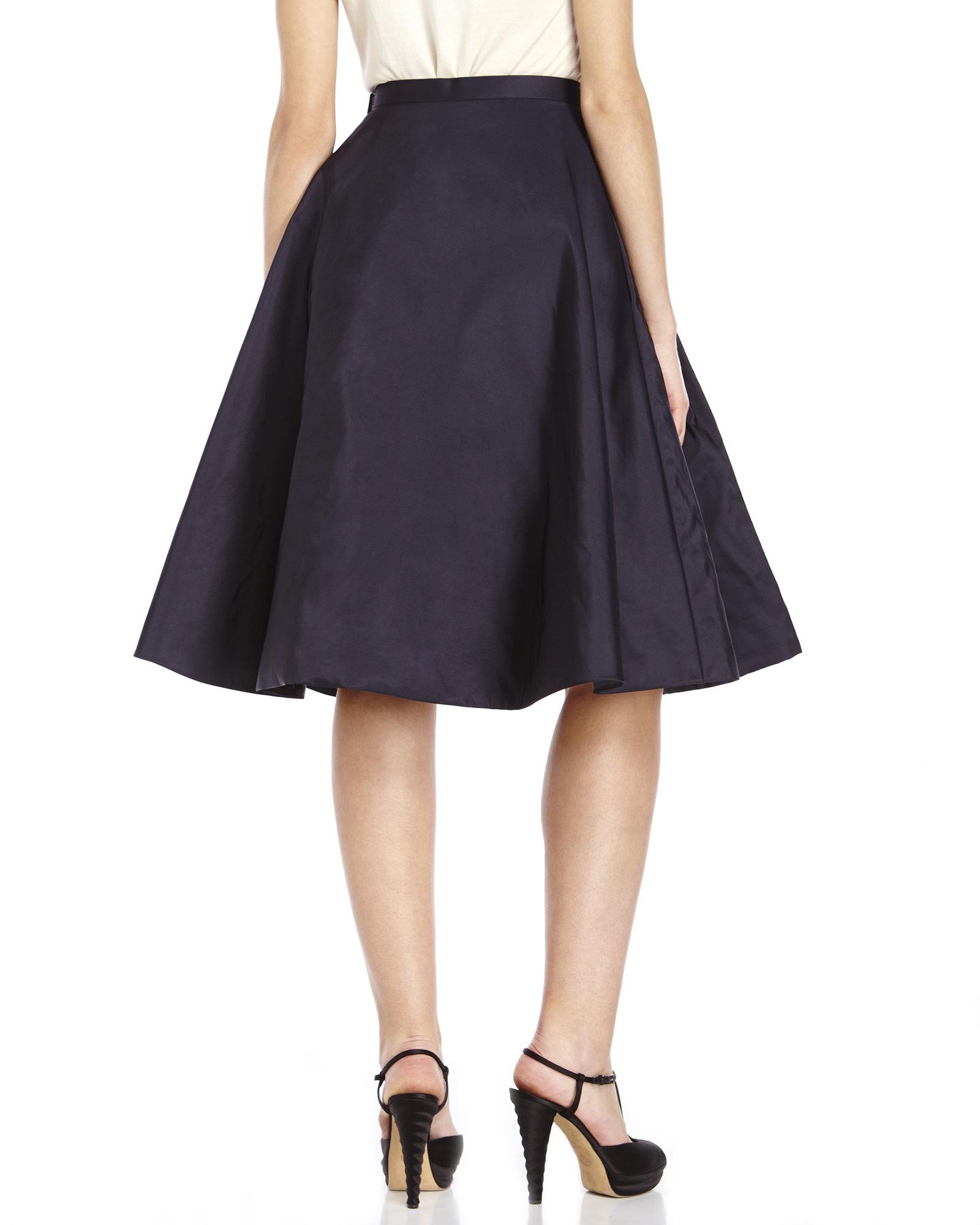 Jason wu Navy Pleated A-Line Silk Skirt in Blue | Lyst