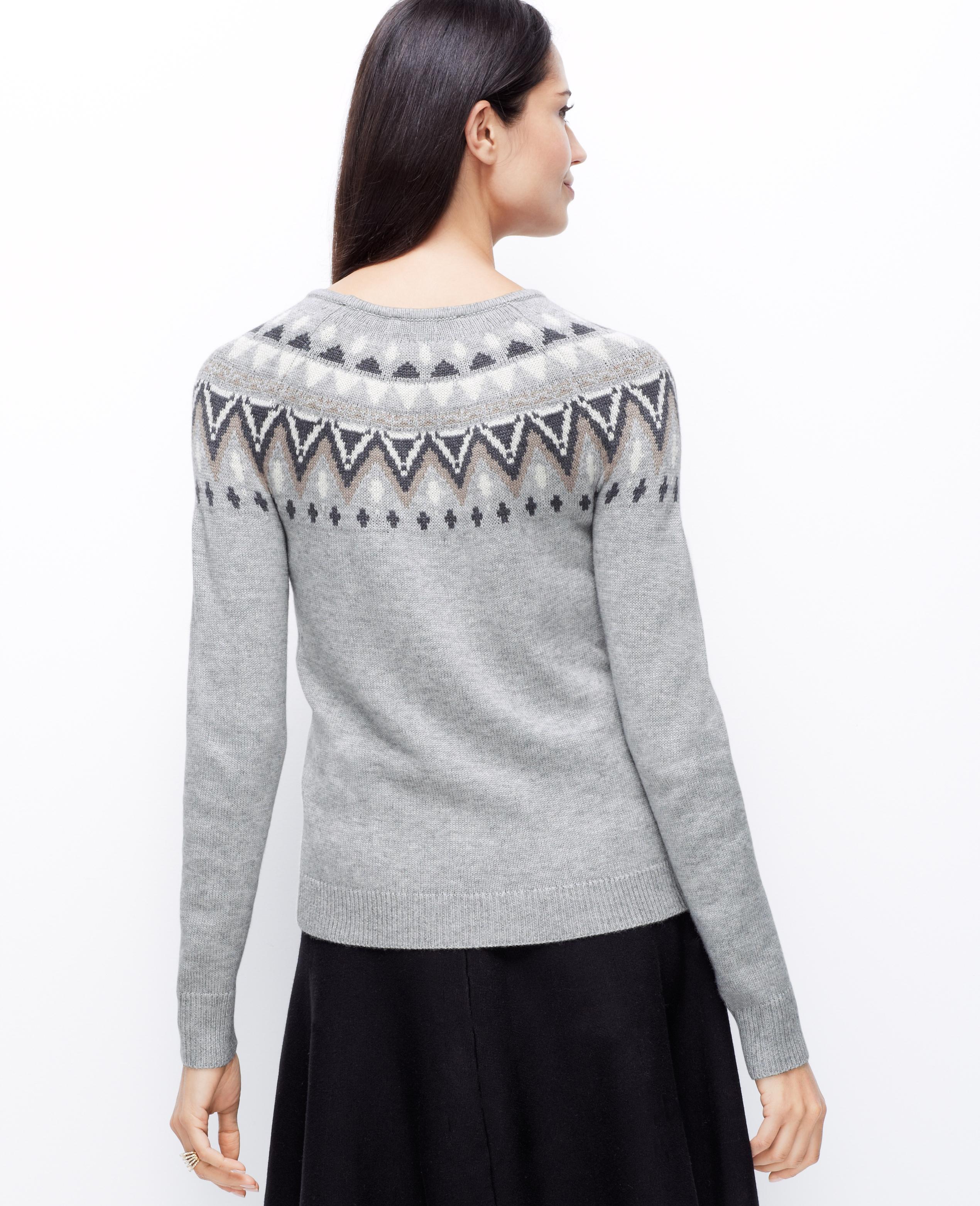 Ann taylor Fair Isle Sweater in Gray | Lyst