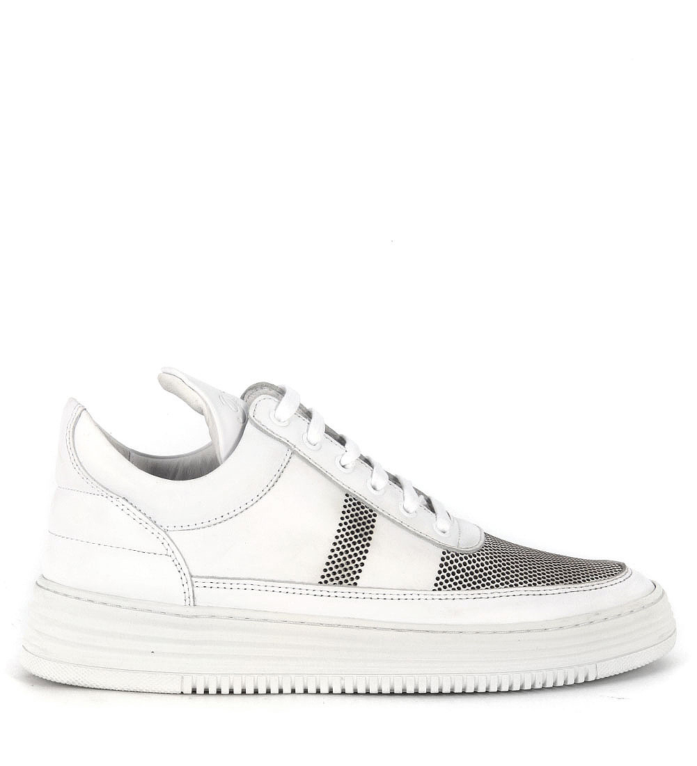 filling pieces sneaker low top stripe perforated in pelle. Black Bedroom Furniture Sets. Home Design Ideas