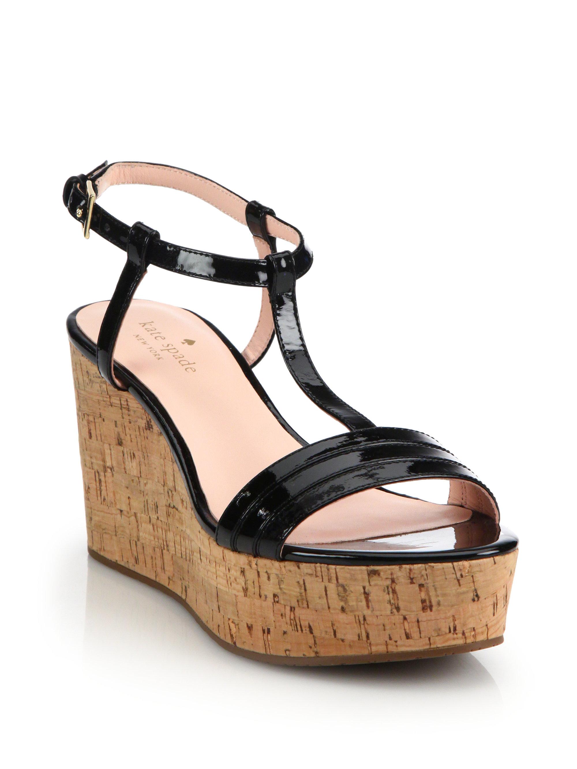 e7a9f3adfbd Lyst - Kate Spade Tallin Cork Platform Wedge Sandals in Black