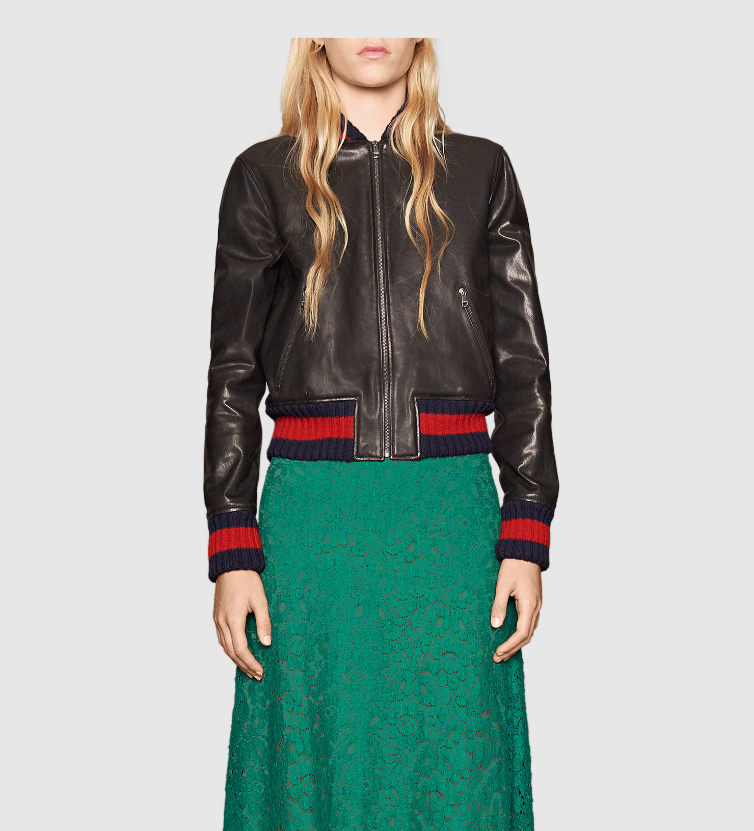 Gucci Embroidered Leather Bomber Jacket in Green - Lyst 223d1bac98f2